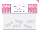 Pink Nautical Party - Personalized DIY printable treat bag labels