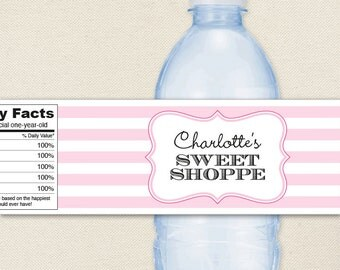 Sweet Shoppe Party - 100% waterproof personalized water bottle labels