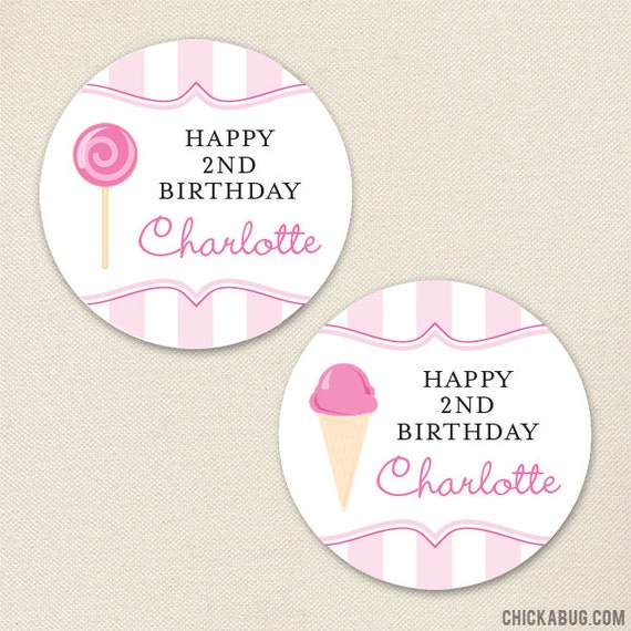 Sweet Shoppe Party - Custom Stickers - Sheet of 12 or 24
