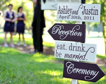 Directional Wedding Signs with Arrows.   Wooden sign with Damask, made to order for your Wedding or Event.  Fiesta and Dancing.