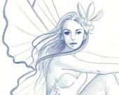 Blue Fairy ORIGINAL DRAWING Fairy Art on Etsy