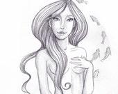 Mermaid ORIGINAL Drawing Mermaids on Etsy