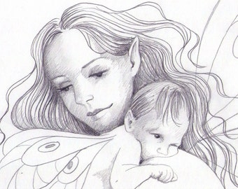 Mother and Daughter Fairy ORIGINAL Pencil Drawing Newborn Baby