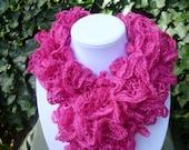 Ruffle Scarf - Lace Scarf- Knit ruffle scarf- Hand Knit ruffle scarf- Hot Pink Scarf