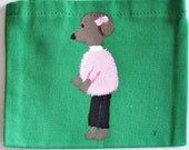 hand painted tote bag with whimsical poodle design
