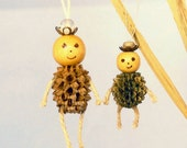 Miniature Ornaments - Small Pine Cone/Seed - Wood bead - Rope - Christmas Ornament - Cute Ornament Doll