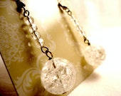 Icicles - Holiday Earrings - Spring Flowers - Winter Earrings - Quartz, Clear Glass, Shiny, Beaded, Earrings
