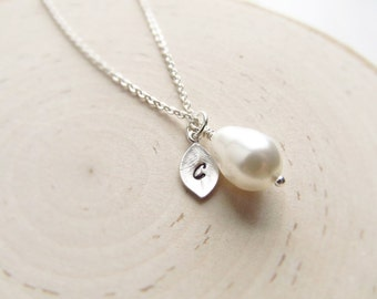 Silver Personalized Necklace, Teardrop Pearl and Initial, Wedding Jewelry, Bridesmaid Necklace, Silver Initial Necklace, You Choose Color