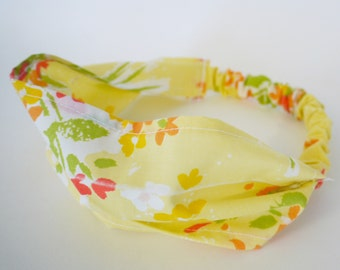 Retro Sunny Floral Comfy Fabric Headband.  Infant, Toddler, & Child sizes. Made from Recycled Fabrics.