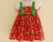 Girls Christmas Dress Toddler Christmas Knot Dress Santa's Elves Red and Green Baby Girl 1st Christmas Dress 6-12mo thru Size 6