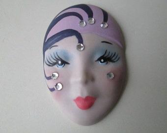 Elegant Geisha Diva Brooch - Vintage - Porcelain Face - Gift - One of a Kind