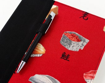 Favbric cover for composition notebooks, composition notebook cover, fabric notebook cover, teacher gifts, includes pen, journal - Red Sushi