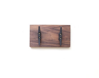 Walnut Rack. Boat Cleat Coat Rack. 2 Hooks Hanger. Nautical Home Decor. Organizer. Wood. Rustic Handmade Home.