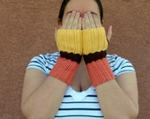 Color Block Fingerless Gloves for Women - Yellow, Persimmon Orange, Brown Fingerless Gloves, Arm Warmers, Fingerless Mittens, Wrist Warmers