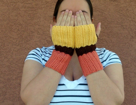 Color Block Fingerless Gloves for Women - Yellow, Persimmon Orange, Brown Fingerless Gloves, Arm Warmers, Fingerless Mittens, Wrist Warmers