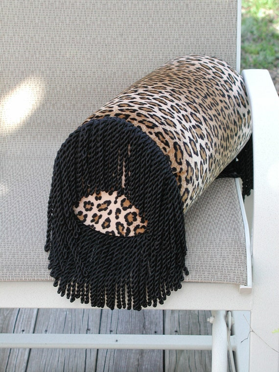 Decorative Pillows With Fringe Part - 50: Round Cylinder Cushion, Luxury Throw Pillows, Decorative Bed Bolster, Round  Bed Roll Pillows, Fringe Pillows, Animal Print Pillows