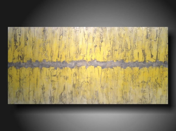 art  original painting   Jmjartstudio Original Painting 48 X 24 Inches  -yellow------grey---Ready to Hang --Textured----