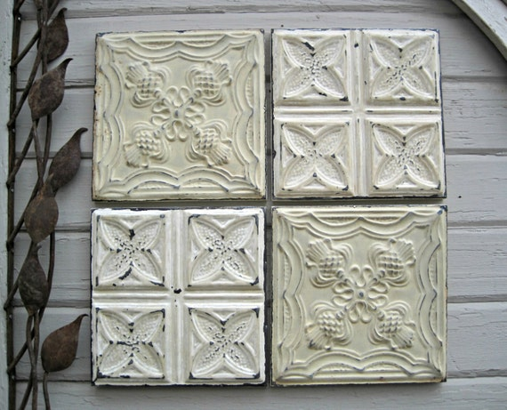 Tin ceiling tiles set of four circa 1900 architectural for Individual ceiling tiles for sale