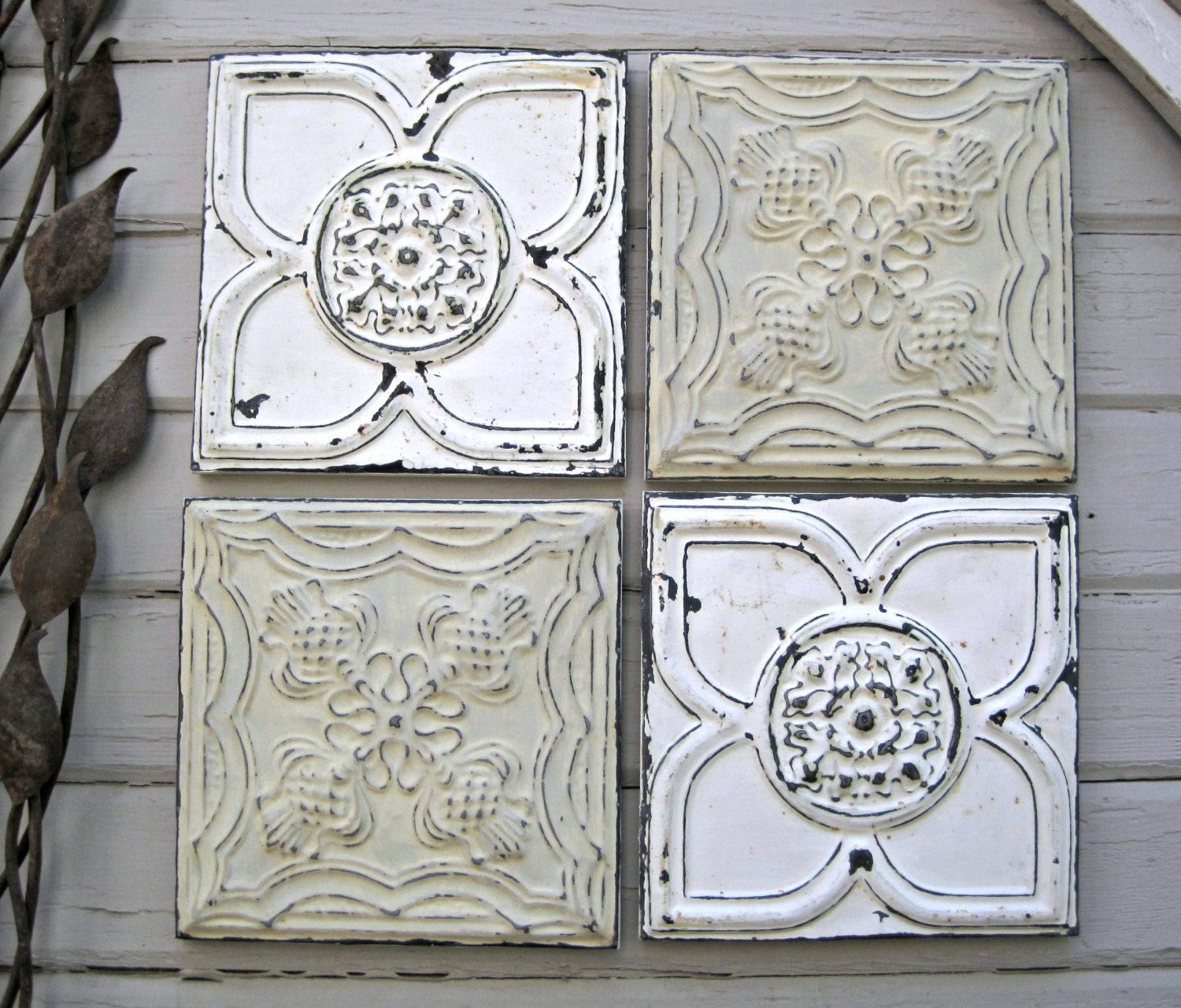 Antique Tin Ceiling Tiles Set Of 4 Framed By Driveinservice