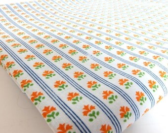 1.5 Yds. Blue Stripes with Orange Flowers Cotton/Poly Fabric Sheeting