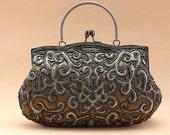 Dark olive green beaded handbag purse - ready to ship