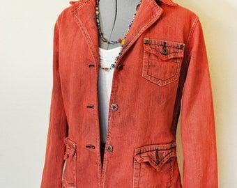 Orange Jrs. Large Denim Jacket - Red Orange Hand Dyed Upcycled Vanity Jeans Denim Blazer Jacket - Adult Womens Size Juniors Large (38 chest)