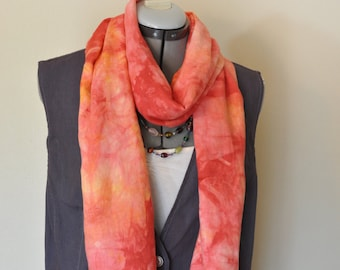 "Red Orange Linen SCARF - Orange Red Cherry Pink Multicolor Hand Dyed Tie Dye Hand Made Linen Scarf #20 - 13"" x 76"""