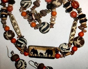 Tribal animal print necklace earring set elephants giraffe zebra print OOAK statement