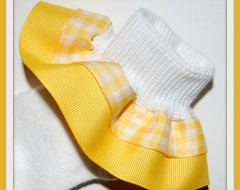 YELLOW GINGHAM Double Ruffle Socks...Perfect for Easter, Church, Spring and Summer Outfits...CLEARANCE...