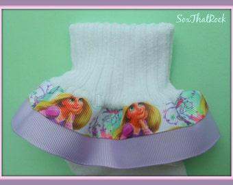 Disney's Princess Rapunzel inspired girls  Socks. You get to pick the bottom ribbon color to match your child's outfit