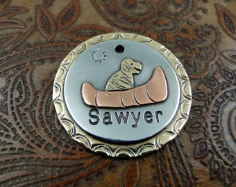 Custom Dog ID, Canoe, ID Tag, Dog Tag, Personalized Dog Collar Tag, Dog in Canoe