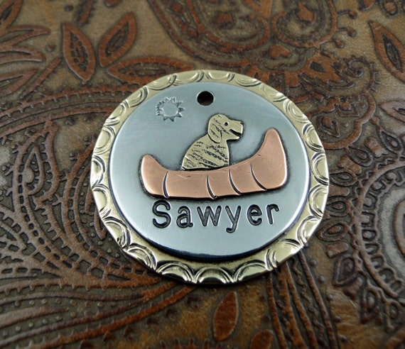 Custom Dog ID, Canoe, ID Tag, Dog Tag, Personalized Dog Collar Tag, Dog in Canoe