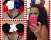 Patriotic Mouse Ears Floral Rose Crown Red White Blue