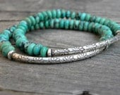 Gemstone Bead  Bracelet  Elastic Stacking Sterling Silver Natural Nevada Turquoise Focal Bead