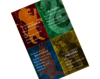 Hogwarts Houses Mini-Poster  - 6 x 9 Glossy Cardstock - Harry Potter Design - Gryffindor Ravenclaw Hufflepuff Slytherin
