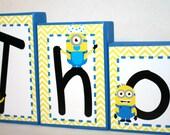 Thomas Collection Name Blocks - Minions - Yellow and White Chevron