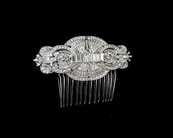 Vintage Inspired Bridal Art Deco Crystals Side Hair Comb