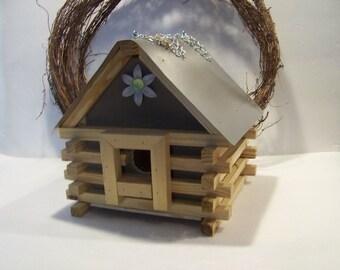 Handmade Cottage Cabin Style Birdhouse Outdoor Garden Decor