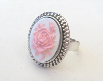 English Rose Ring, Flower Ring, Silver Ring, Pink Rose Ring, Elizabethan Ring, Pink and White