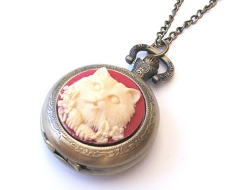 Cat Necklace, Cat Pocketwatch Necklace, Cat Watch Necklace, Red Cat Cameo Necklace