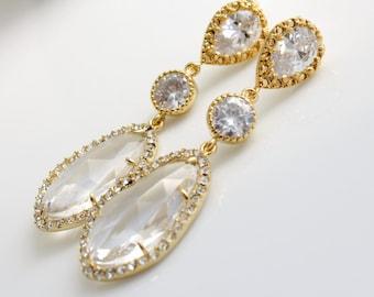 Gold Bridal Earrings Wedding Jewelry Clear Glass Earrings Wedding Earrings Gold Cubic Zirconia Posts Bridal Jewelry