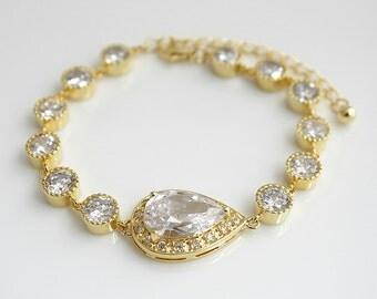 Gold Bridal Bracelet, Gold Wedding Jewelry, Gold Crystal Bracelet, Clear Cubic Zirconia, Gold Teardrop Bracelet, Emma