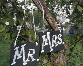 Black and White Mr and Mrs Wedding Sign Bridal Barn Wood Bride Groom Hanging Ready to Ship