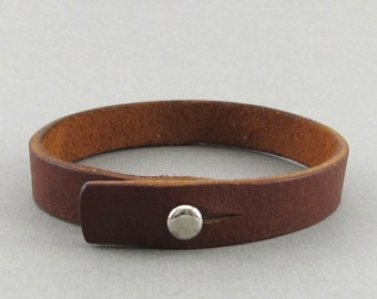 Mens womens unisex simple brown leather wrap bracelet with stud closure - can be personalised