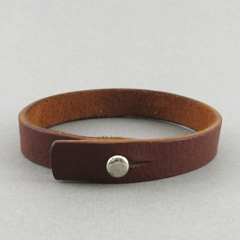 mens womens unisex simple brown leather wrap bracelet with