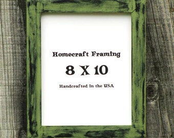 8X10 Picture Frame Distressed Wedding Frame Wood Frame Green Black Shabby Chic Rustic