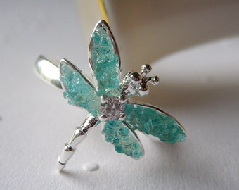 Dragonfly Ring, Stained Glass Ring, Birthstone Ring, Silver Dragonfly Ring, Custom Dragonfly Ring, Aquamarine Dragonfly, Dragonfly Jewelry