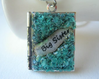 Big Sister Locket December Gemstone Antiqued Silver Turquoise Birthstone Necklace Blue Stained Glass Crystal Pendant Birthday Gift