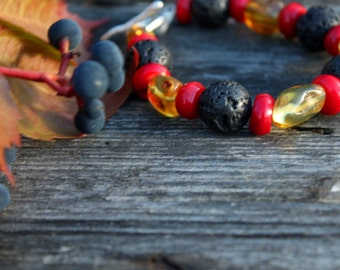 Tribal Bracelet Lava & Coral Red Black Yellow Amber Gypsy jewelry ethno style Gift for her Natural Stone
