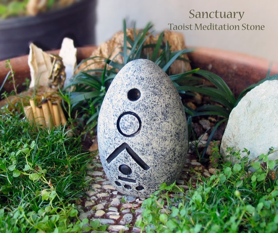 Sanctuary - Handcrafted Taoist Meditation Altar Stone - Handpainted Clay - Planter and Terrarium Decor - Zen Garden - Mindful Practice